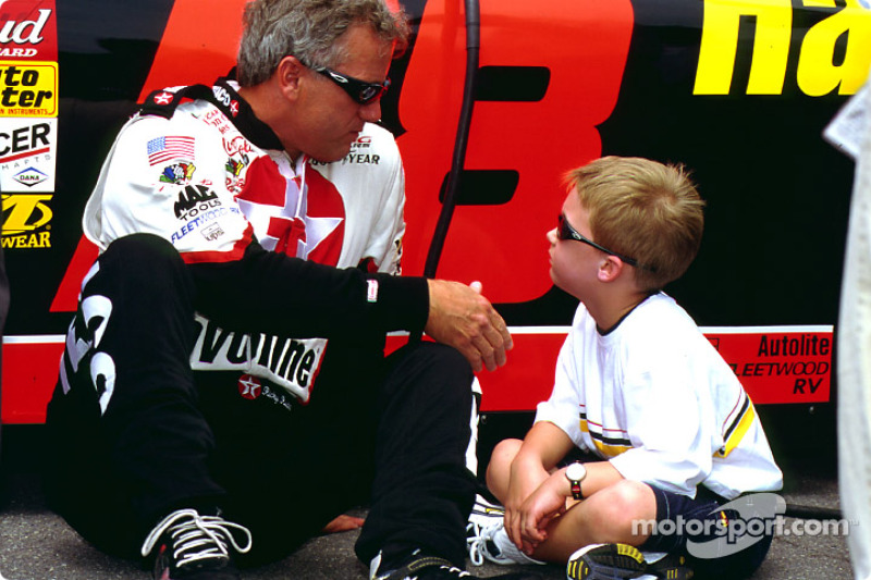 Ricky Rudd shakes with his son