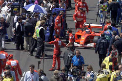 Rubens Barrichello taking his place on the pre-grid