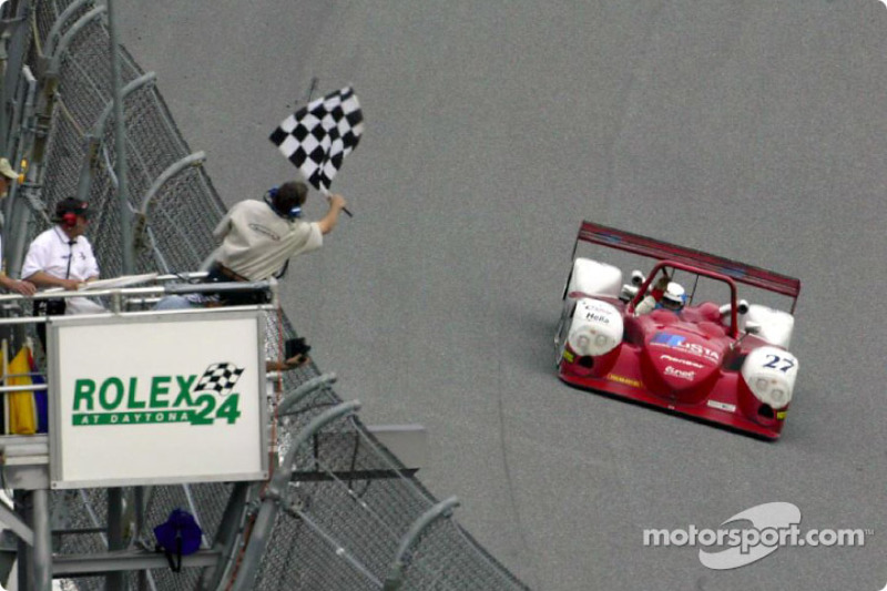 The #27 Judd Dallara Dallara takes the checkered flag to win the Rolex 24 At Daytona