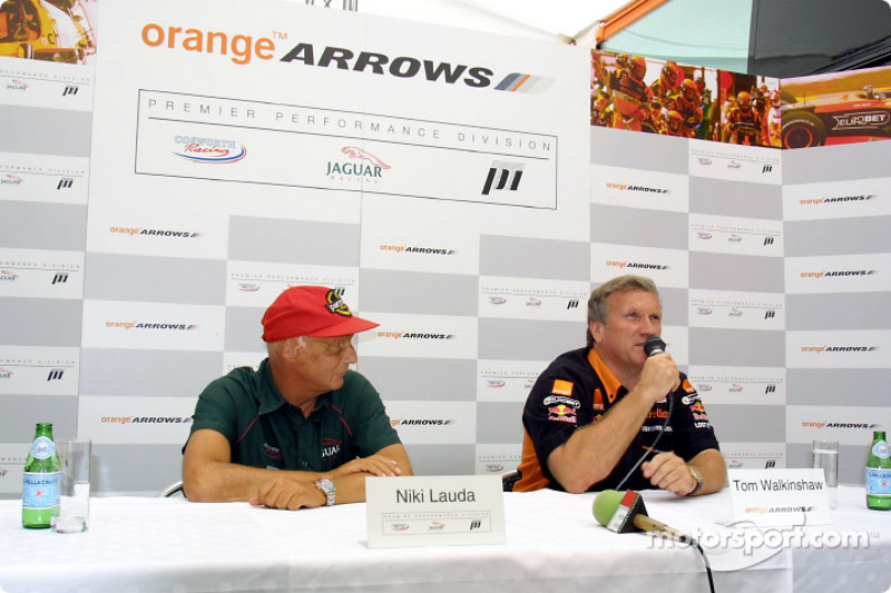 Premier Performance Division to supply Cosworth V10 engines to OrangeArrows: Niki Lauda and Tom Walk