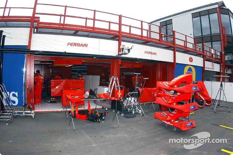 Team Ferrari pit area