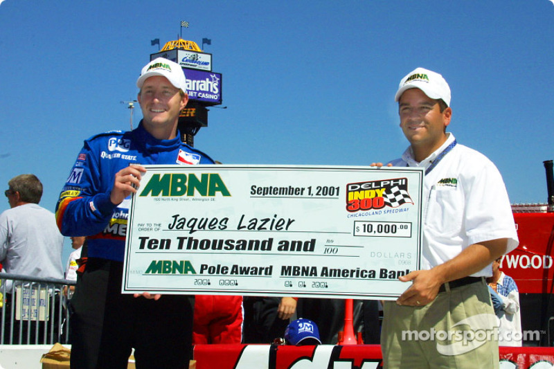 Jaques Lazier receiving the MBNA Pole Award