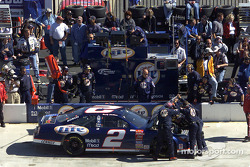 The hood goes up on Rusty Wallace's Ford Taurus early in the race