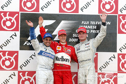 Podium: Sieger Michael Schumacher, 2. Juan Pablo Montoya, 3. David Coulthard