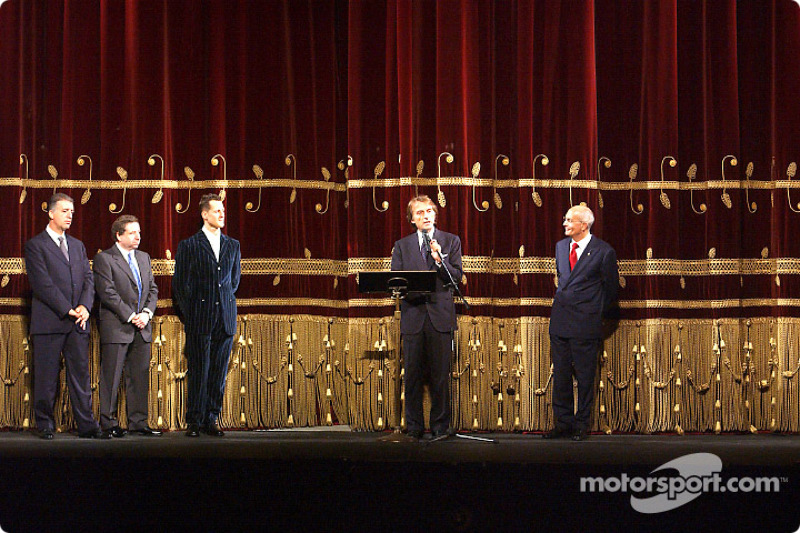 Milan, Teatro alla Scala: Luca di Montezemelo presenting Michael Schumacher and Jean Todt
