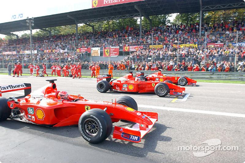Michael Schumacher, Rubens Barrichello and Luca Badoer