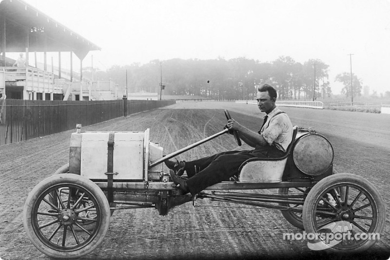 Frank Kulick poses in a Model T that has been stripped and re-worked for racing