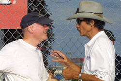 NASCAR racing legend Richard Petty chats with Rob Dyson before the start