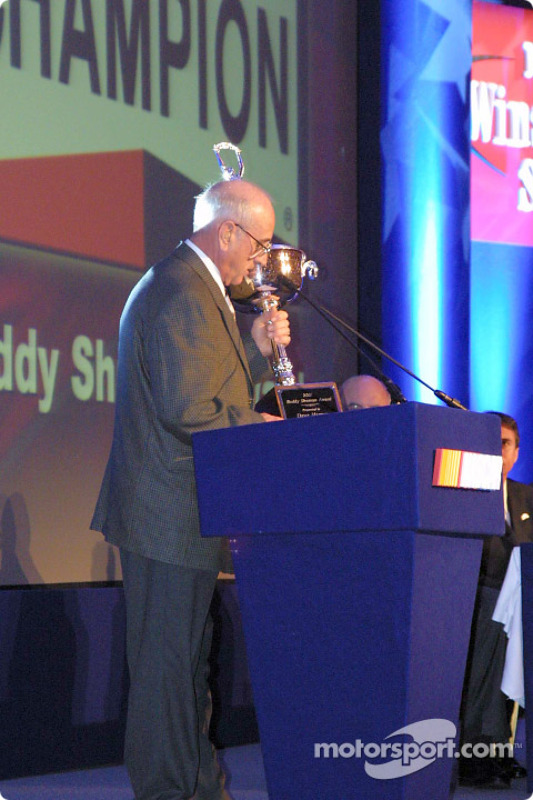 Dave Marcis accepting the Buddy Shuman Award for NASCAR Excellence