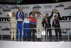 Terry Borcheller and Anthony Lazzaro celebrate their first SRPII victory at the Grand-Am Finale with the other class podium finishers