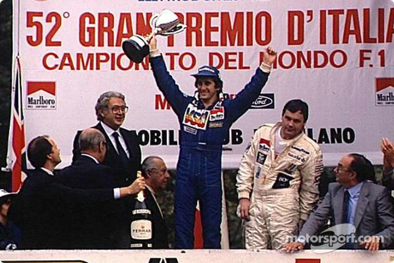 Winner Alain Prost and Alan Jones