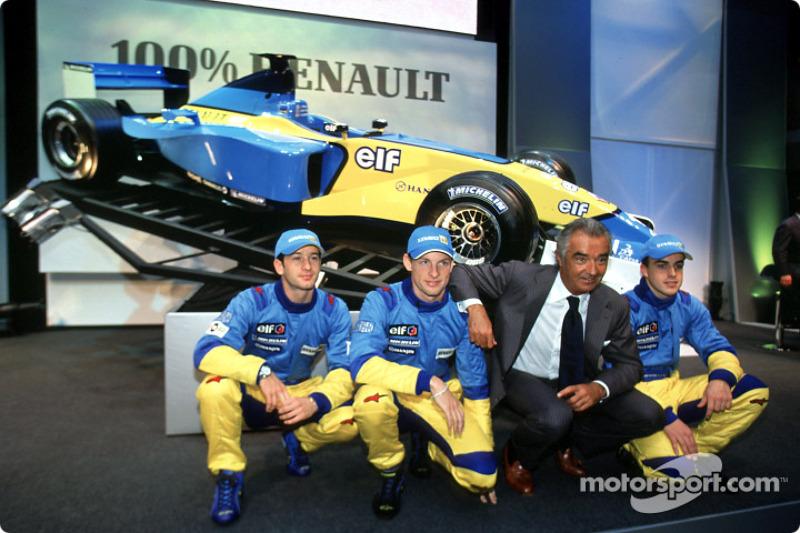 Jarno Trulli, Jenson Button, Flavio Briatore et Fernando Alonso