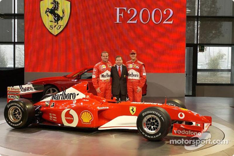 Rubens Barrichello, Jean Todt and Michael Schumacher