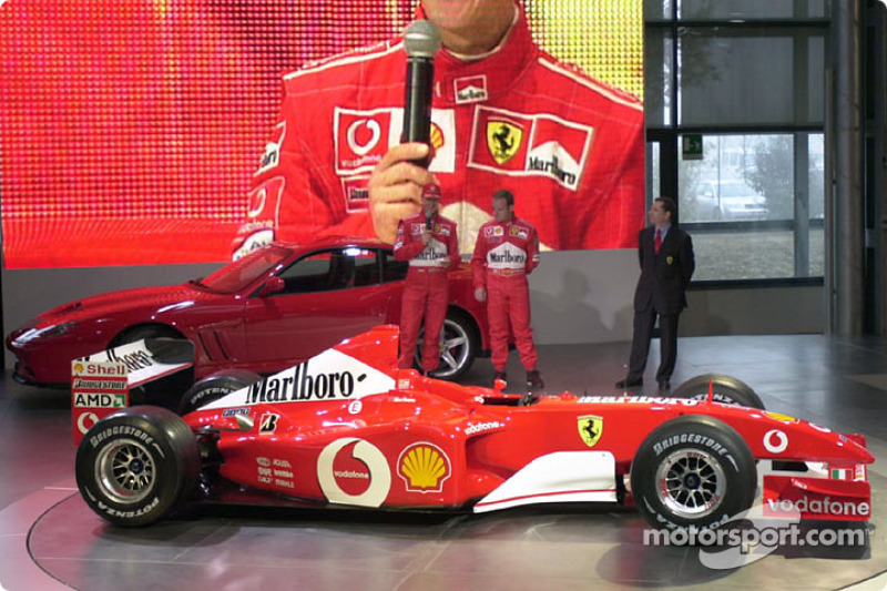 Michael Schumacher and Rubens Barrichello with the new Ferrari F2002
