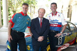 Queensland Premier Peter Beattie joins V8 Supercar drivers David Besnard and Garth Tander at the launch of the Gillette V8 Supercar Challenge to be staged at this year's Honda Indy 300