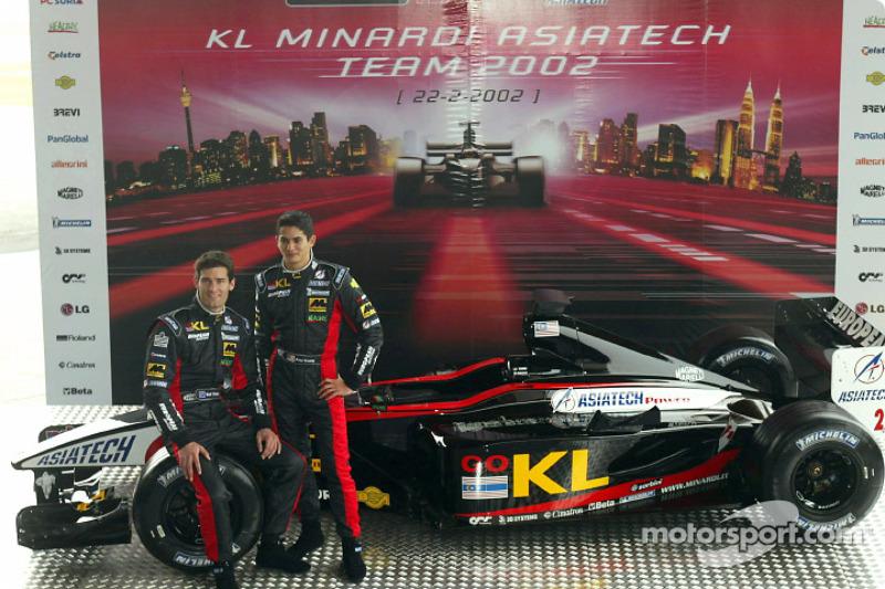 Mark Webber et Alex Yoong avec la nouvelle Minardi Asiatech PS02