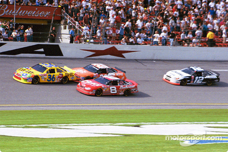 Ken Schrader battling with Tony Stewart and Dale Earnhardt Jr.