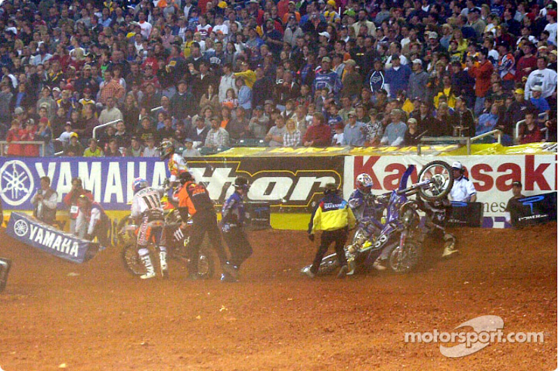 Pile up at the start of the 125cc moto