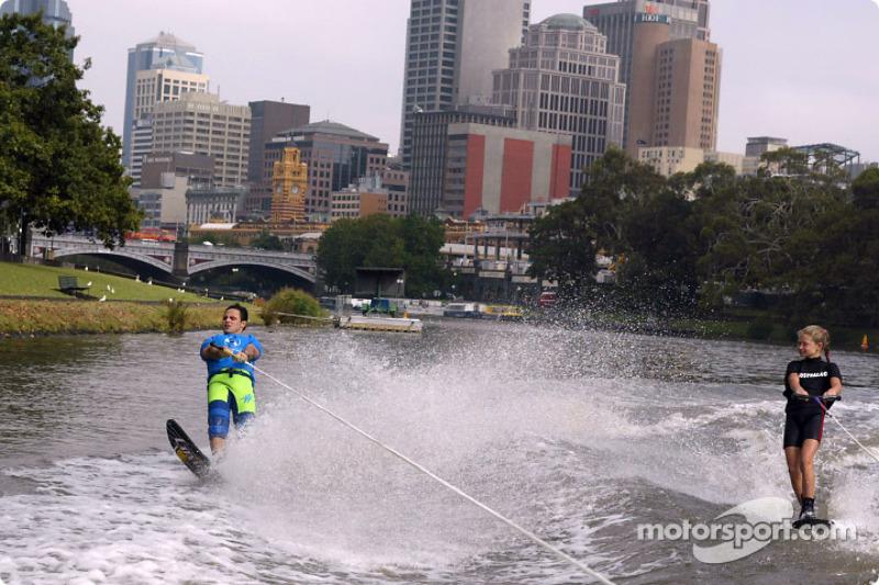 Felipe Massa water skiing on Melbourne's Yarra River with Australian champion 12-years old Michale Brant