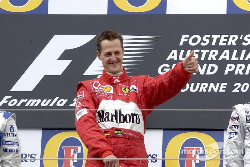 2002: 1. Michael Schumacher, 2. Juan Pablo Montoya, 3. Kimi Räikkönen
