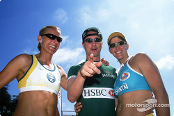 Eddie Irvine and Australian Olympic Beach Volleyball gold medalists Kerry Pottharst and Natalie Cook for a game of Beach Volleyball held on Manly Beach in Sydney