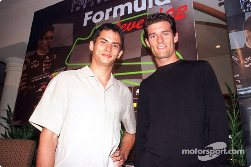 Sponsorship ceremony for Pan Global in Kuala Lumpur: Alex Yoong and Mark Webber
