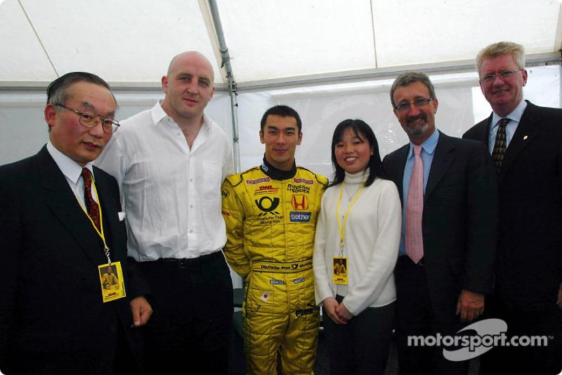 Eddie Jordan and Takuma Sato with Imperial Highness of Japan princess Akiko, Irish Rugby Captain Kei