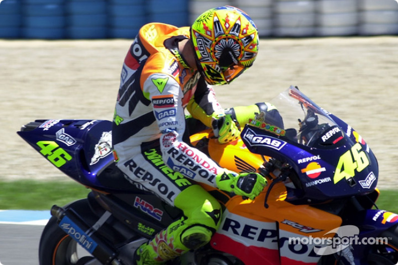 Rossi checks bike