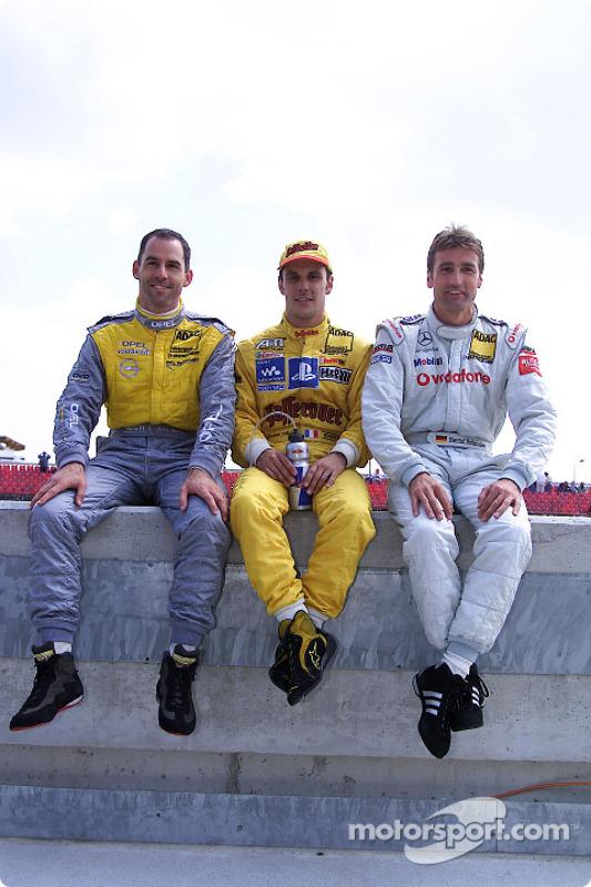 Pole winner Laurent Aiello with Alain Menu and Bernd Schneider