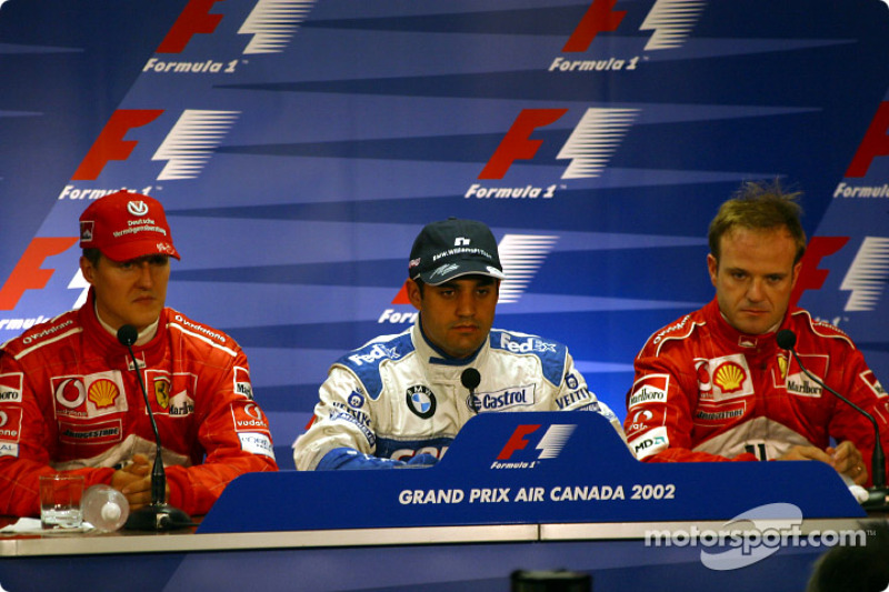 Conferencia de prensa FIA del sábado: el ganador de la pole, Juan Pablo Montoya con Michael Schumach