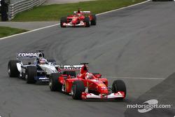 Rubens Barrichello leading Juan Pablo Montoya