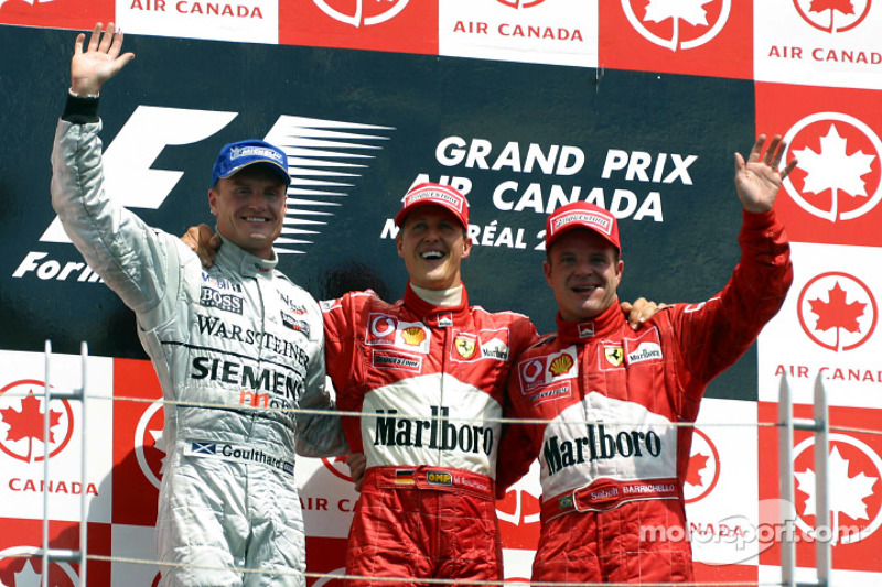 2002: 1. Михаэль Шумахер, 2. Дэвид Култхард, 3. Рубенс Баррикелло
