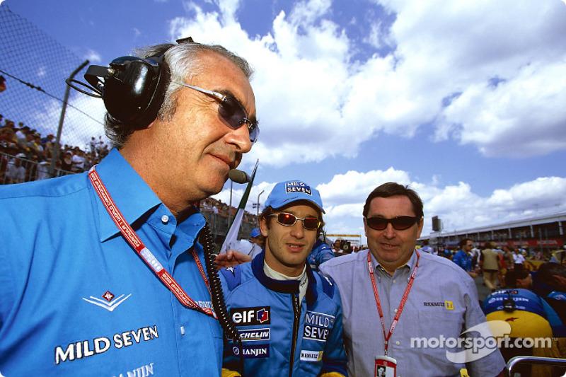 Flavio Briatore, Jarno Trulli and Patrick Faure
