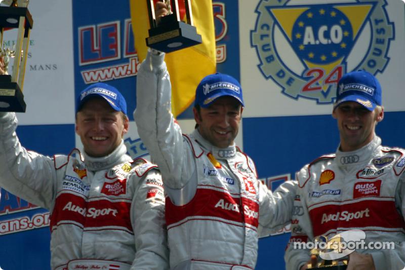 El podio general y el de la LMP 900 - LM GTP: tercer lugar Michael Krumm, Marco Werner y Philipp Pet