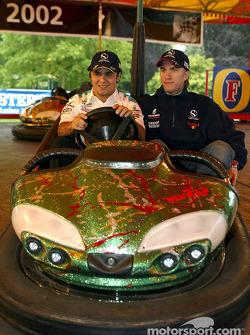 Felipe Massa y Nick Heidfeld en autos chocones