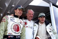 Olivier Panis, David Richards and Jacques Villeneuve celebrating