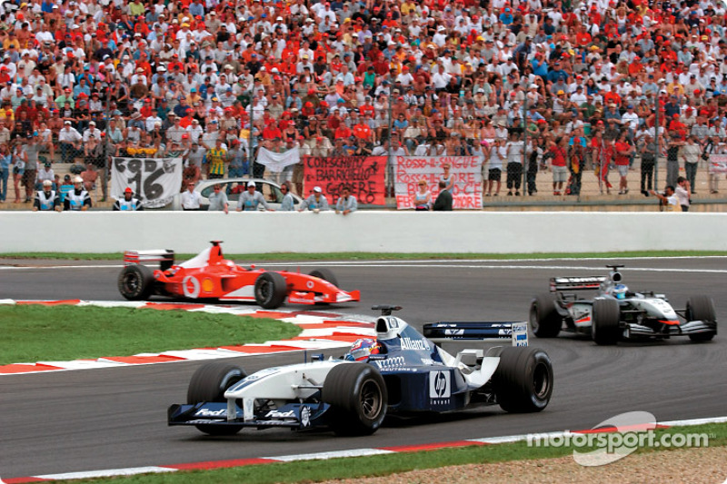 Juan Pablo Montoya, Kimi Raikkonen y Michael Schumacher