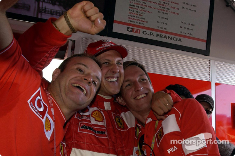 Rubens Barrichello, Michael Schumacher and Luciano Burti celebrating