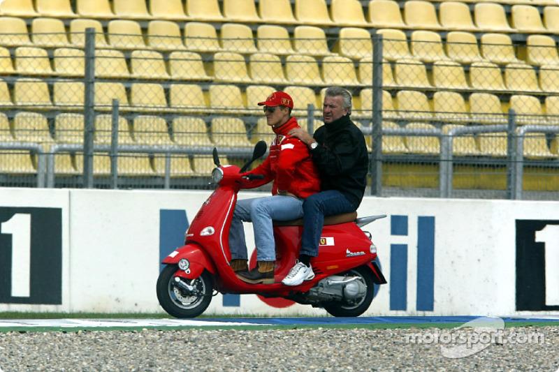Michael Schumacher and manager Willi Webber
