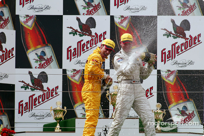 The podium: race winner Uwe Alzen with Laurent Aiello