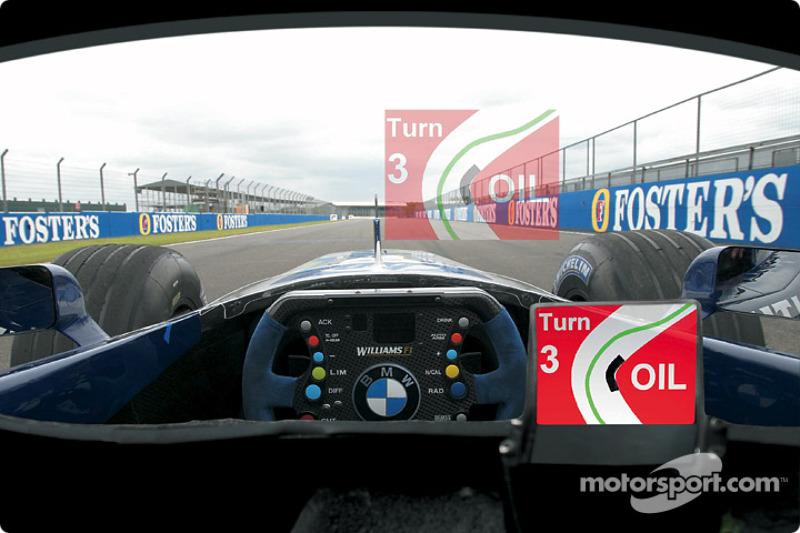 Presentación del visor movil para el casco de Ralf Schumacher, desarrollado por BMW