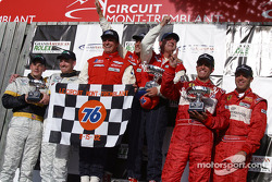 The podium: overall winners Fredy Lienhard Jr., Fredy Lienhard and Didier Theys, with Cort Wagner, Bill Auberlen, BJ Zacharias and Cass Whitehead
