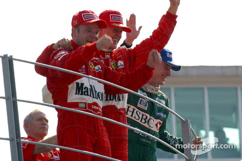 2002. Подіум: 1. Рубенс Баррікелло, Ferrari. 2. Міхаель Шумахер, Ferrari. 3. Едді Ірвайн, Jaguar-Ford