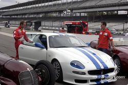 Rubens Barrichello and Michael Schumacher with the three Maseratis: 8CTF, Trofeo and Spyder