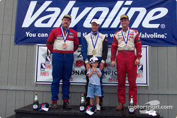 The podium: race winner Justin Pritchard with Chris Winkler and Thomas Schwietz