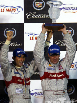 The podium: race winners Emanuele Pirro and Frank Biela