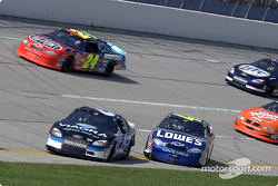 Mark Martin and Jimmie Johnson collide on the pace laps