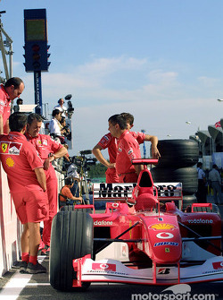 Team Ferrari waits for technical inspection