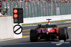 Rubens Barrichello at pit exit