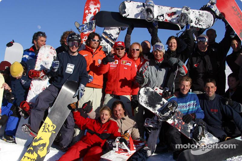 Rubens Barrichello and his snowboarder friends